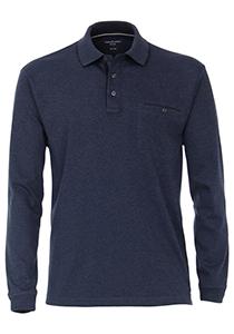 Casa Moda Comfort Fit polo lange mouw, blauw melange