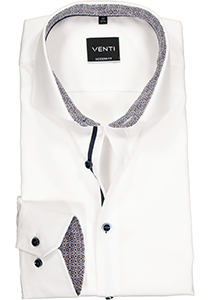 Venti Modern Fit overhemd, wit twill (contrast)