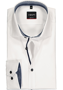 Venti Body Fit overhemd, wit twill (contrast)