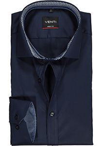 Venti Body Fit overhemd, donkerblauw twill (contrast)