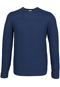 OLYMP Level 5 heren trui katoen, O-hals, rookblauw (Slim Fit)