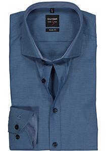 OLYMP Level 5 Body Fit overhemd, blauw structuur (blauw contrast)