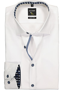 OLYMP No. 6 Six, Super Slim Fit overhemd mouwlengte 7, wit structuur (blauw contrast)