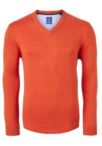 Redmond heren trui katoen V-hals, oranje