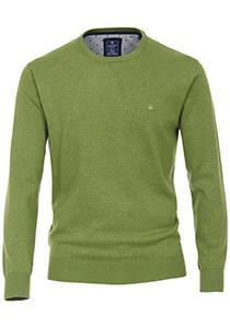 Redmond heren trui katoen O-hals, groen melange
