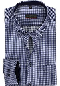 ETERNA Modern Fit overhemd, blauw geruit twill (contrast)