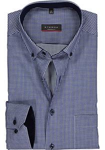 ETERNA Modern Fit overhemd mouwlengte 7, blauw geruit twill (contrast)