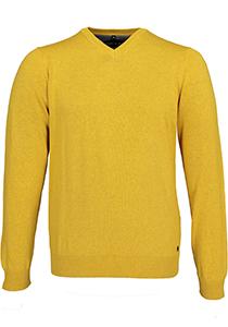 MARVELIS heren trui katoen, V-hals, oker geel