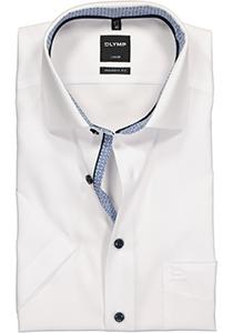 OLYMP Modern Fit overhemd korte mouw, wit (blauw contrast)