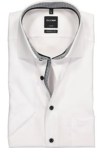 OLYMP Modern Fit overhemd korte mouw, wit (zwart contrast)