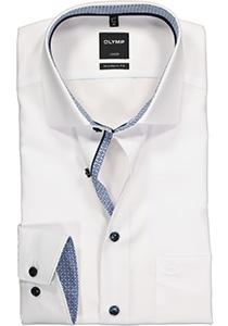 OLYMP Modern Fit overhemd mouwlengte 7, wit (contrast)