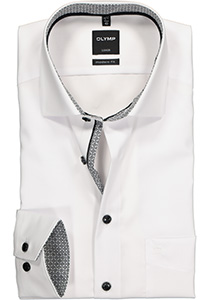 OLYMP Modern Fit overhemd mouwlengte 7, wit (zwart contrast)