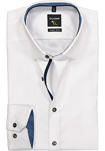 OLYMP No. 6 Six, Super Slim Fit overhemd, wit (blauw contrast)