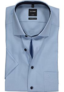 OLYMP Modern Fit overhemd korte mouw, blauw structuur (contrast)