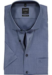 OLYMP Modern Fit, overhemd korte mouw, blauw structuur (contrast)