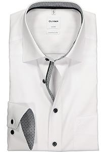 OLYMP Comfort Fit overhemd, wit (zwart contrast)