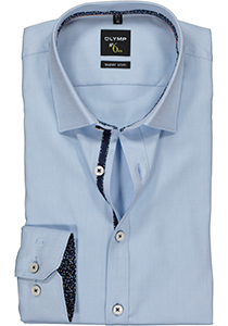 OLYMP No. 6 Six Super Slim Fit overhemd mouwlengte 7, lichtblauw 2-ply structuur (contrast)
