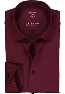 OLYMP Luxor Modern Fit overhemd 24/7, bordeaux rood tricot