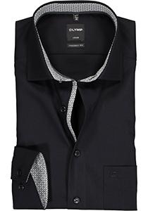 OLYMP Luxor Modern Fit overhemd mouwlengte 7, zwart  (contrast)