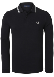 Fred Perry polo lange mouwen, zwart