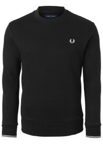 Fred Perry O-hals sweatshirt, zwart