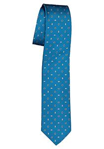 Pelucio stropdas, turquoise met wit dessin
