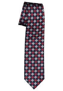 Pelucio stropdas, blauw met donkerrood geruit
