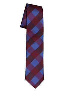 Pelucio stropdas, blauw met bordeaux geruit