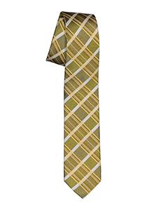 Pelucio stropdas, mosterdgeel geruit