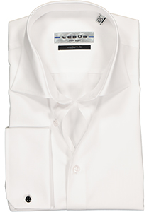 Ledûb Modern Fit overhemd dubbele manchet, wit