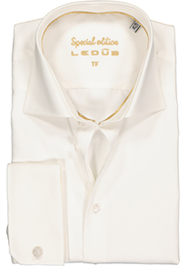 Ledûb Tailored Fit overhemd dubbele manchet, beige
