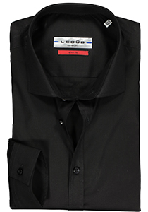 Ledûb Stretch Slim Fit overhemd, zwart