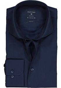 Profuomo Slim Fit overhemd, navy blauw fine twill