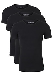 Tommy Hilfiger Premium Essentials Cotton stretch T-shirts (3-pack), O-hals, zwart