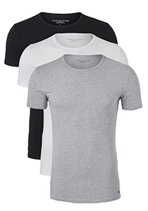 Tommy Hilfiger Premium Essentials Cotton stretch T-shirts (3-pack), O-hals, zwart, wit, grijs