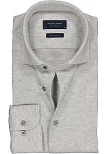 Profuomo Slim Fit jersey overhemd, grijs melange knitted shirt