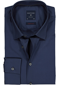 Profuomo Super Slim Fit stretch overhemd, navy blauw