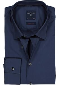 Profuomo Super Slim Fit stretch overhemd, navy blauw