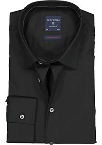 Profuomo Super Slim Fit stretch overhemd, zwart