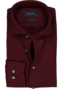 Profuomo Slim Fit jersey overhemd, bordeaux rood melange knitted shirt