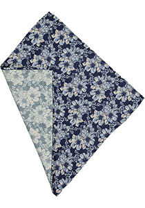 Michaelis pocket square, navy gebloemd pochet wol