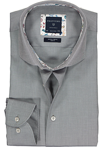 Profuomo Slim Fit  overhemd, grijs twill (contrast)