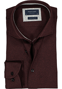 Profuomo Slim Fit  jersey overhemd, bordeaux rood knitted shirt