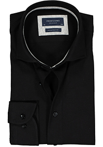 Profuomo Slim Fit  jersey overhemd, zwart knitted shirt (contrast)