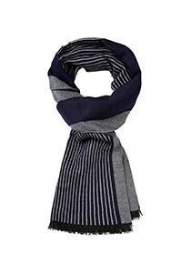 Michaelis  heren sjaal, blauw met grijs gestreept
