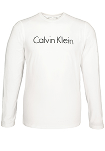 Calvin Klein Comfort Cotton crew neck long sleeve Shirt, wit