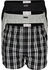 Calvin Klein Wijde Boxers (3-pack), zwart, gestreept en geruit