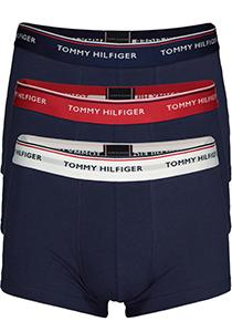 Tommy Hilfiger low rise trunk (3-pack), blauw met 3 kleuren tailleband