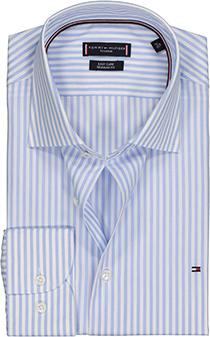 Tommy Hilfiger Stripe classic shirt, Regular Fit lichtblauw gestreept overhemd