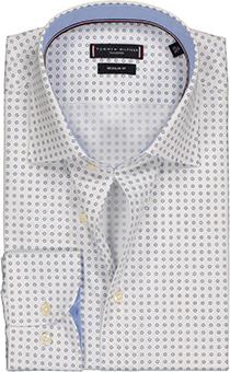 Tommy Hilfiger Poplin Classic shirt, Regular Fit mouwlengte 7, lichtblauw-wit dessin overhemd